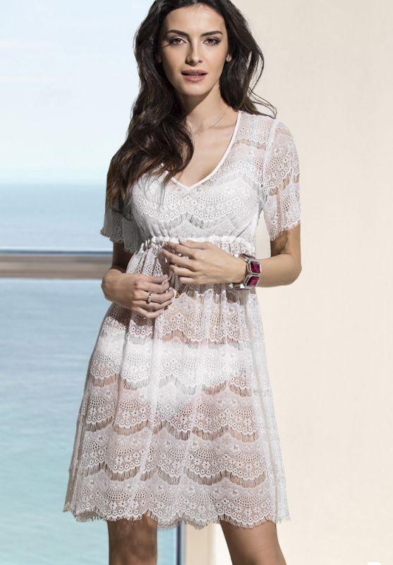 df56ba386ac Белое пляжное летнее платье с кружевом купить в интернет-магазине ...