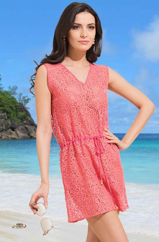 58b71bf07b1 Коралловая летняя бамбуковая пляжная туника купить в интернет ...