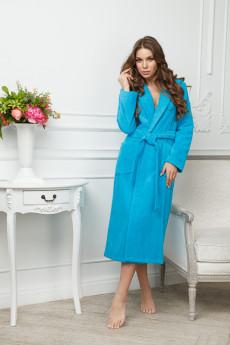 54d35a5d213e Бирюзовый удлиненный халат из микрофибры купить в интернет-магазине ...
