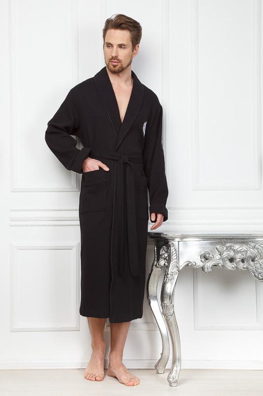 556f432f14ca01b Бамбуковый черный вафельный мужской халат купить в интернет-магазине ...