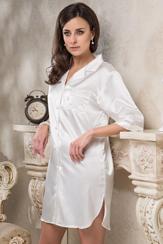 7f58338d3d1 Жемчужно-атласная ночная рубашка купить в интернет-магазине Comfortstory