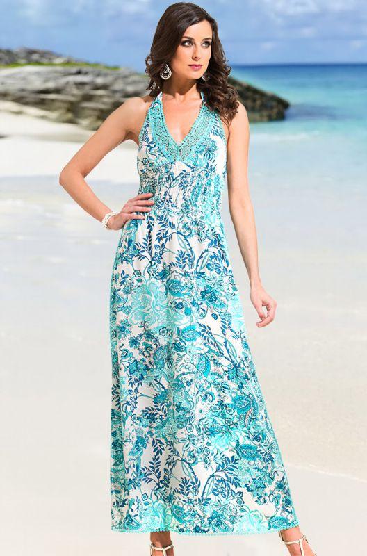 e086df5dfdeb7 Удлиненное лазурное хлопковое платье-сарафан купить в интернет ...