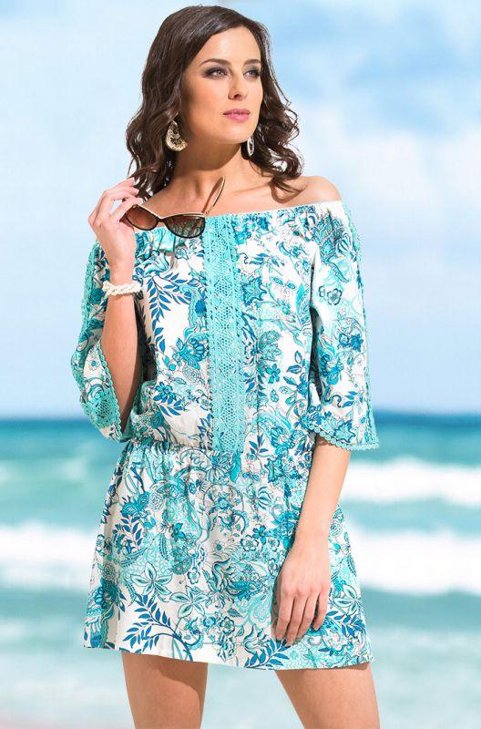 55cb6f95c1d92 Лазурное хлопковое пляжное платье с кружевом купить в интернет ...