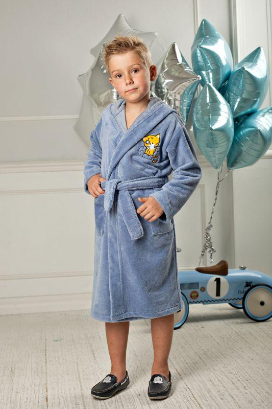 8202ddea324c6 Бамбуковый детский махровый халат с капюшоном для мальчика купить в ...