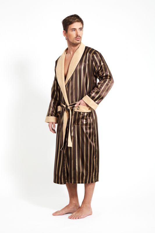 7ca30cd122d1 Коричневый шелковый мужской халат купить в интернет-магазине ...