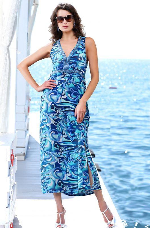 2d6893eda46d2 Длинное пляжное летнее платье с жемчугом купить в интернет-магазине ...