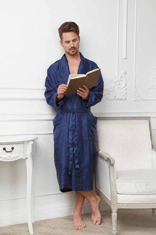 2ecafcd2b38 Темно-синий шелковый легкий халат купить в интернет-магазине ...