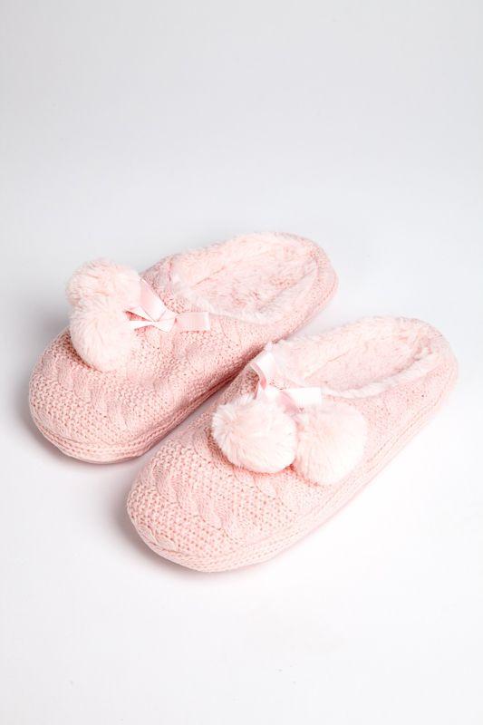 нежно розовые вязаные тапочки Pettimelo купить в интернет магазине