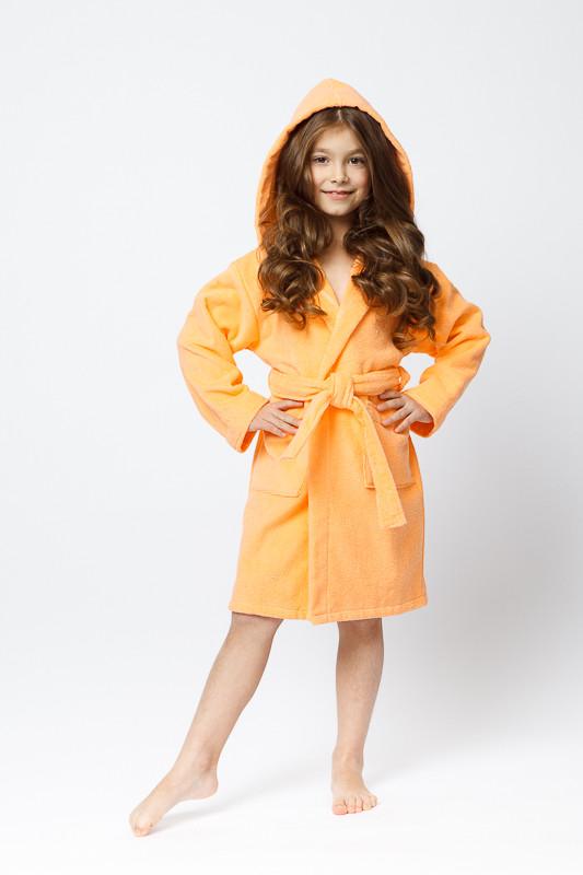 eec1a6bcd8660 Детский махровый халат персикового цвета для девочки купить в ...