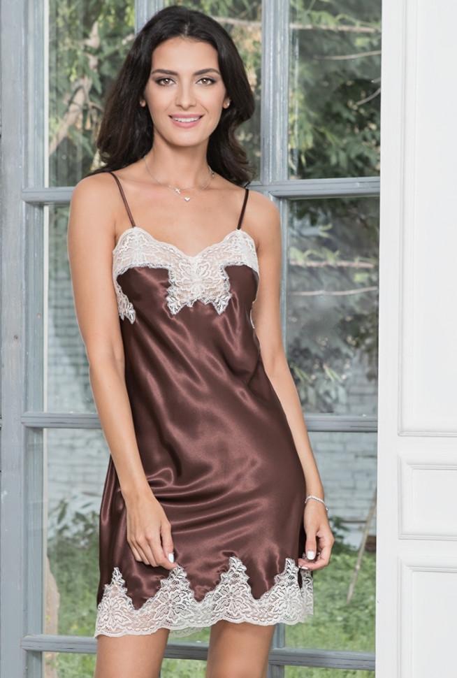 494ef5ff4db Нежно-шоколадная сорочка из натурального шелка купить в интернет ...