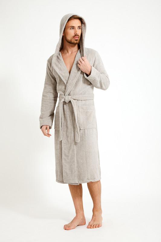 6003d6683bd1f Махровый светло-серый мужской халат с капюшоном купить в интернет ...