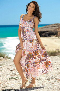 1e854ff301e1f Удлиненное лазурное хлопковое пляжное платье купить в интернет ...