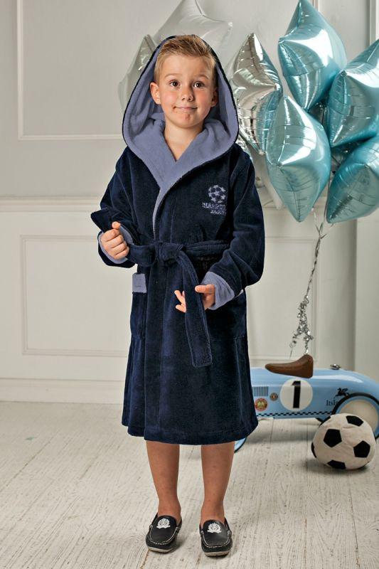 34677a7480def Темно-синий подростковый банный халат для мальчика купить в интернет ...