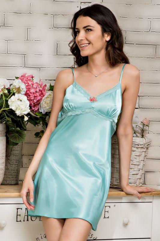 2610ebf028144 Шелковая сорочка в нежно-мятном оттенке купить в интернет-магазине ...