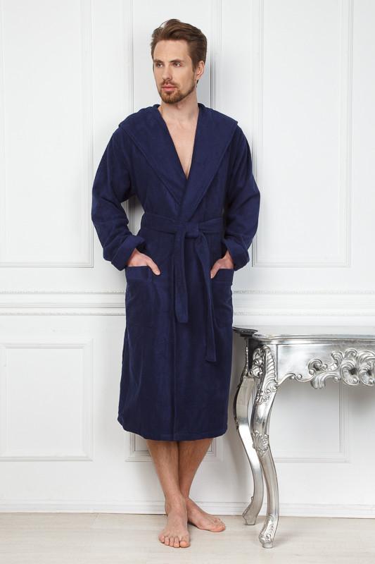 ab3944b38a423 Темно-синий теплый махровый халат с капюшоном купить в интернет ...