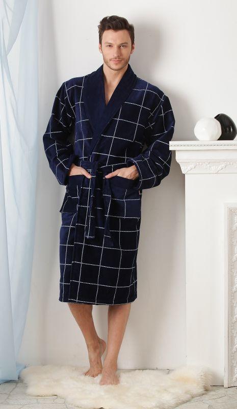 a4cda0f4f9f8b Синий теплый мужской халат в клетку купить в интернет-магазине ...