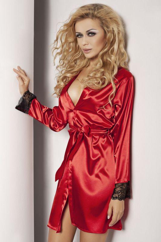4fb2d7d73a436 Красный шелковый халат DKaren с длинным рукавом купить в интернет ...