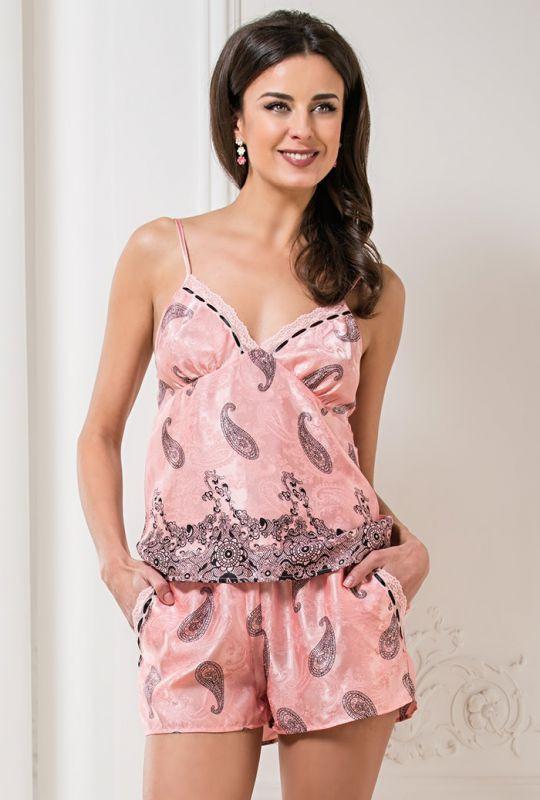 e9e0c78b6e343 Женская шелковая пижама с шортами