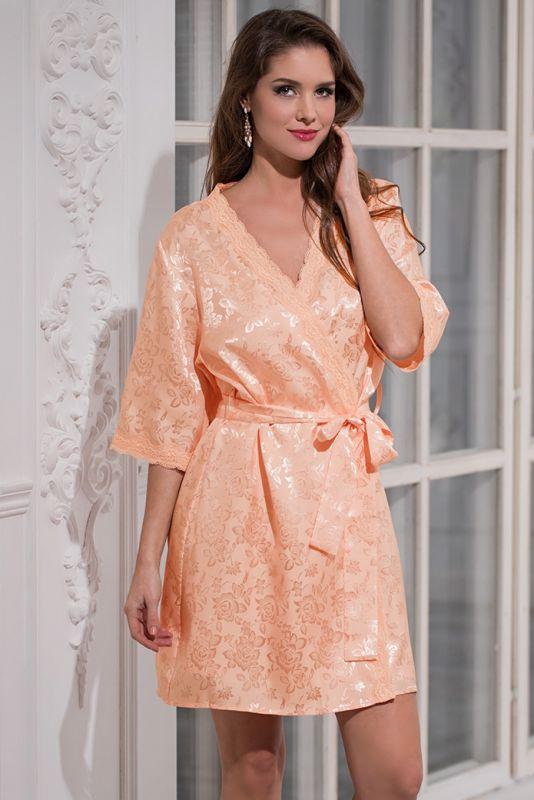 38a69fd3207 Нежно-персиковый шелковый женский халат купить в интернет-магазине  Comfortstory