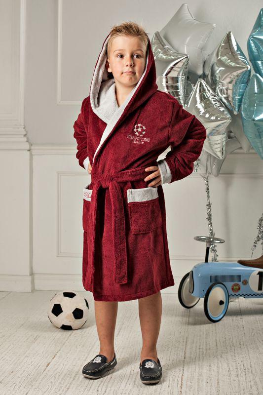 cf21f50e555e7 Бордовый подростковый халат с капюшоном