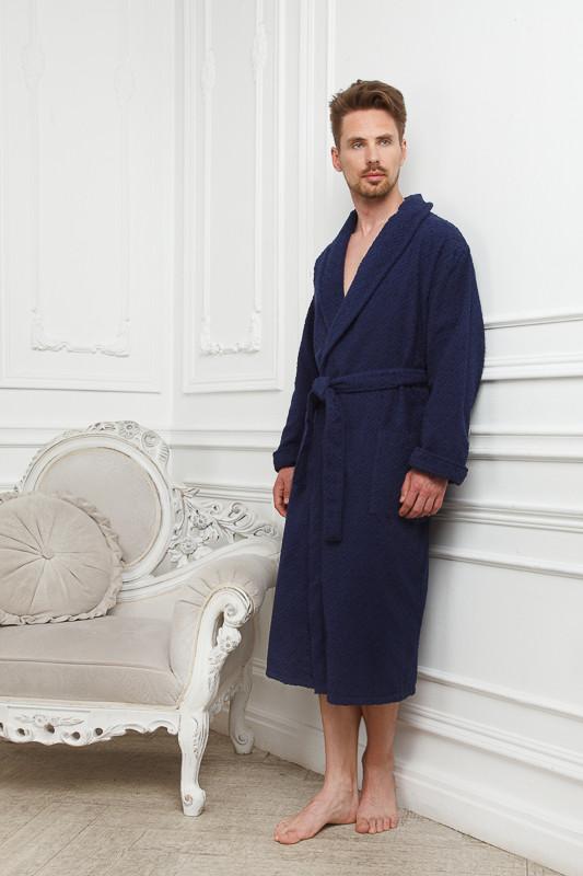 799d26f71627 Фактурный темно-синий мужской махровый халат купить в интернет ...