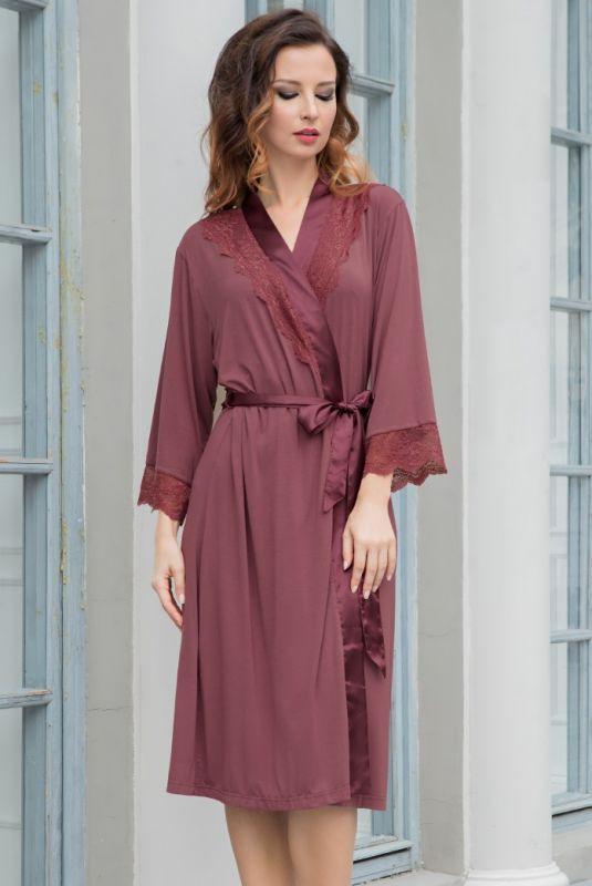 b516edb3b Удлиненный комплект Mia-Mia (халат и сорочка) цвета марсала купить в ...