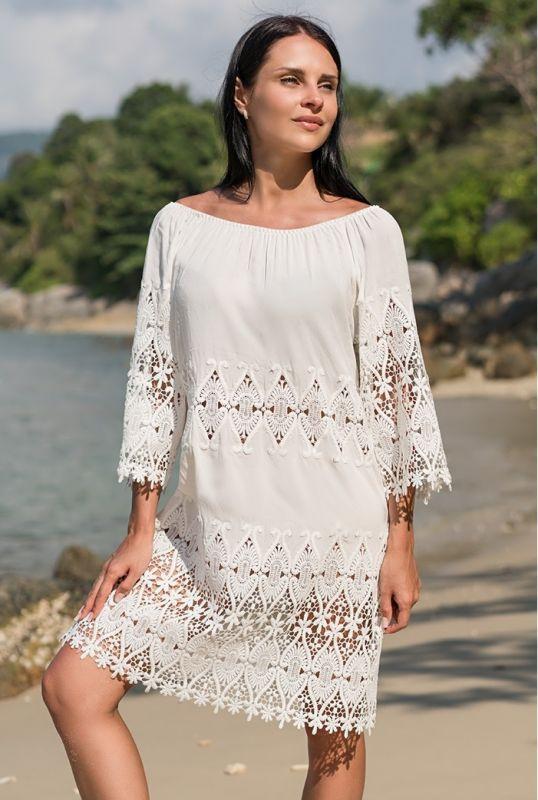 a40189ef25849 Белое хлопковое платье-туника купить в интернет-магазине Comfortstory