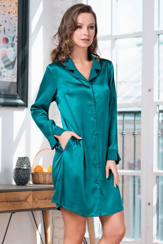 5bd374615d4 Изумрудная шелковая рубашка купить в интернет-магазине Comfortstory