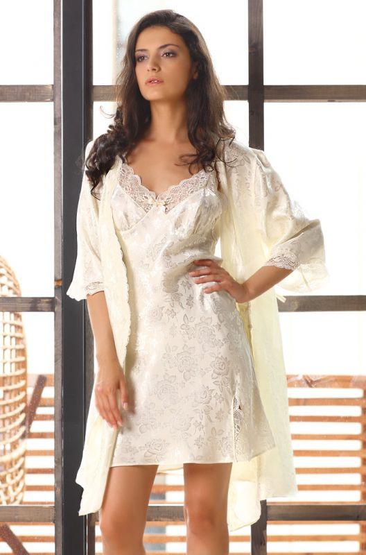 7a040526ead Белый халат шелковый с принтом купить в интернет-магазине Comfortstory