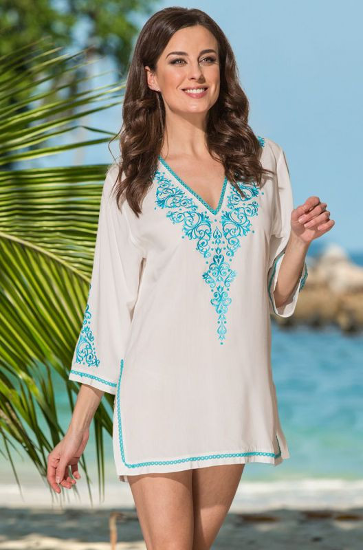 038760a6a04 Белая хлопковая летняя пляжная туника c вышивкой купить в интернет ...