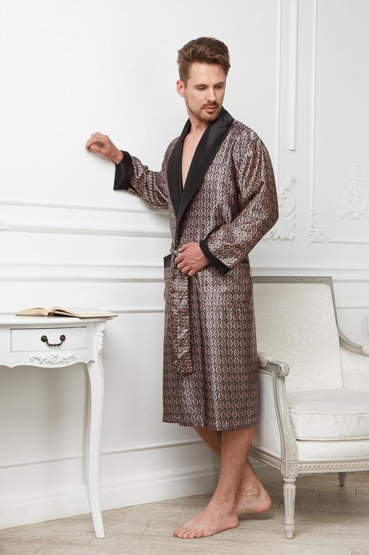 928d361c0459 Черно-золотой шелковый мужской халат купить в интернет-магазине ...