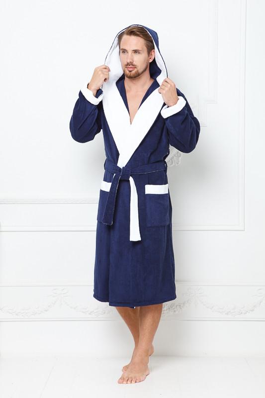 133bb40ed1f90 Синий махровый мужской халат с капюшоном и белым кантом купить в ...