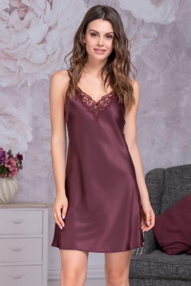 bda05172906 Женская шелковая сорочка цвета Бургунди купить в интернет-магазине ...