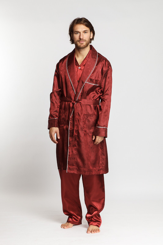 409a8d9f85c6 Бордовый шелковый мужской комплект (халат и пижамы) купить в ...