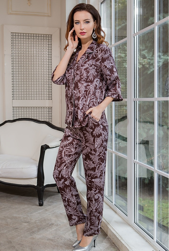 2e7514db8ec Натурально-шелковый пижамный комплект цвета корицы