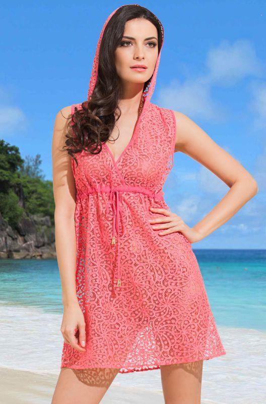 8bde7e3c1de Пляжная коралловая бамбуковая туника с капюшоном купить в интернет ...