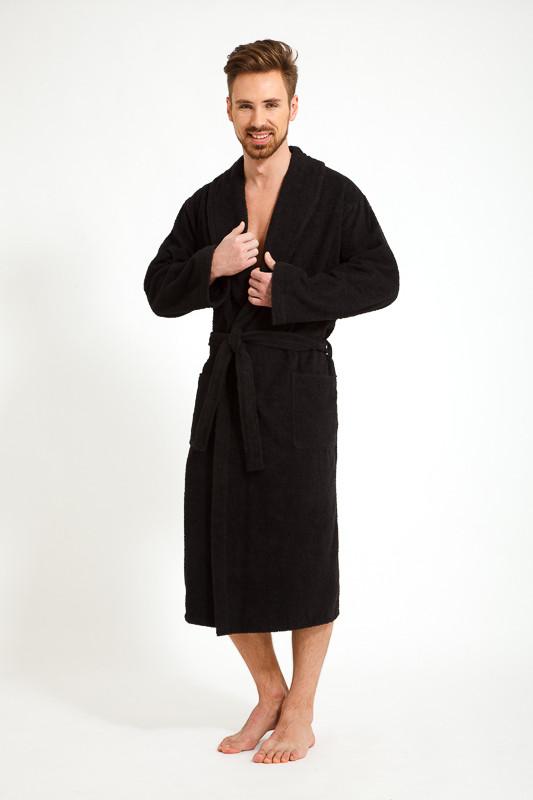 a183f2dd7dd24 Махровый черный теплый мужской халат купить в интернет-магазине ...